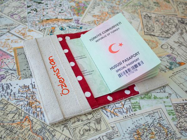 """""""SEYAHAT"""" Pasaport Kılıfı iç yerleşim"""